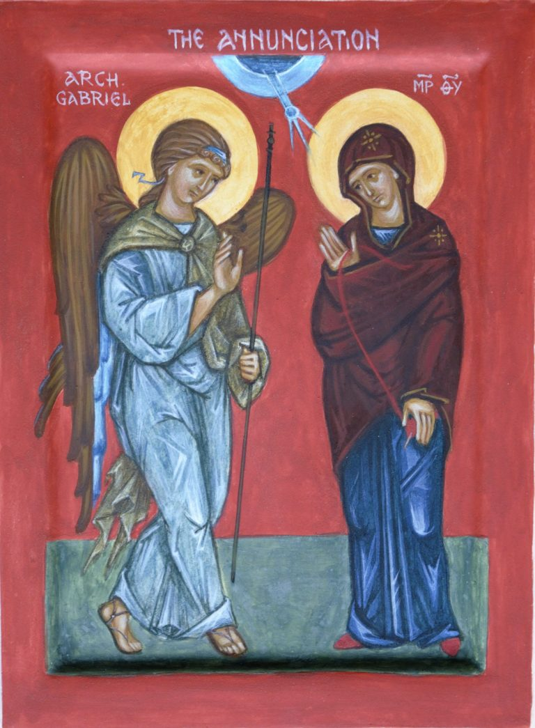 Hand painted icon of The Annunciation