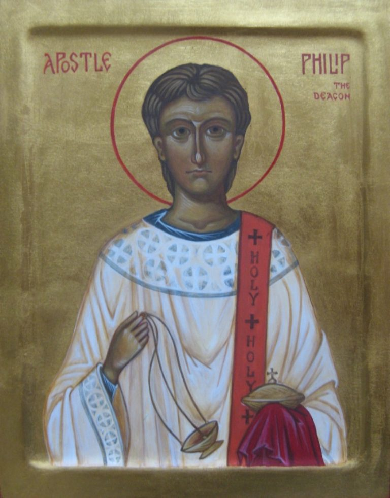 Hand pained icon of The Apostle Philip the Deacon - egg tempera on wood, oil gilded
