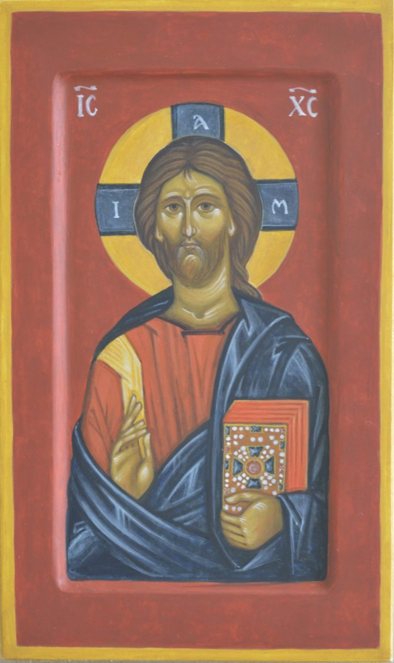 Hand painted icon of Christ Pantocrator