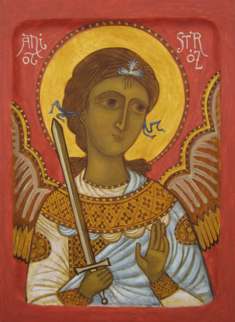 Hand painted icon of Guardian Angel - egg tempera on wood