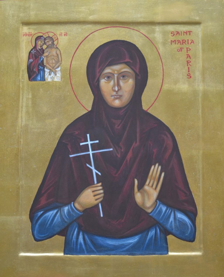 Hand painted icon of Mother Maria of Paris - egg tempera on wood, oil gilded