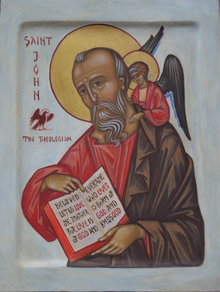 Hand painted icon of Saint John the Evangelist - egg tempera on wood - egg tempura on wood