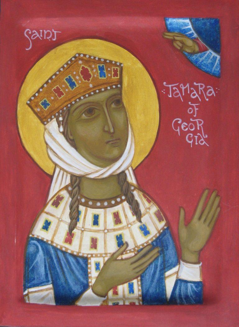 Hand painted icon of Saint Tamara of Georgia