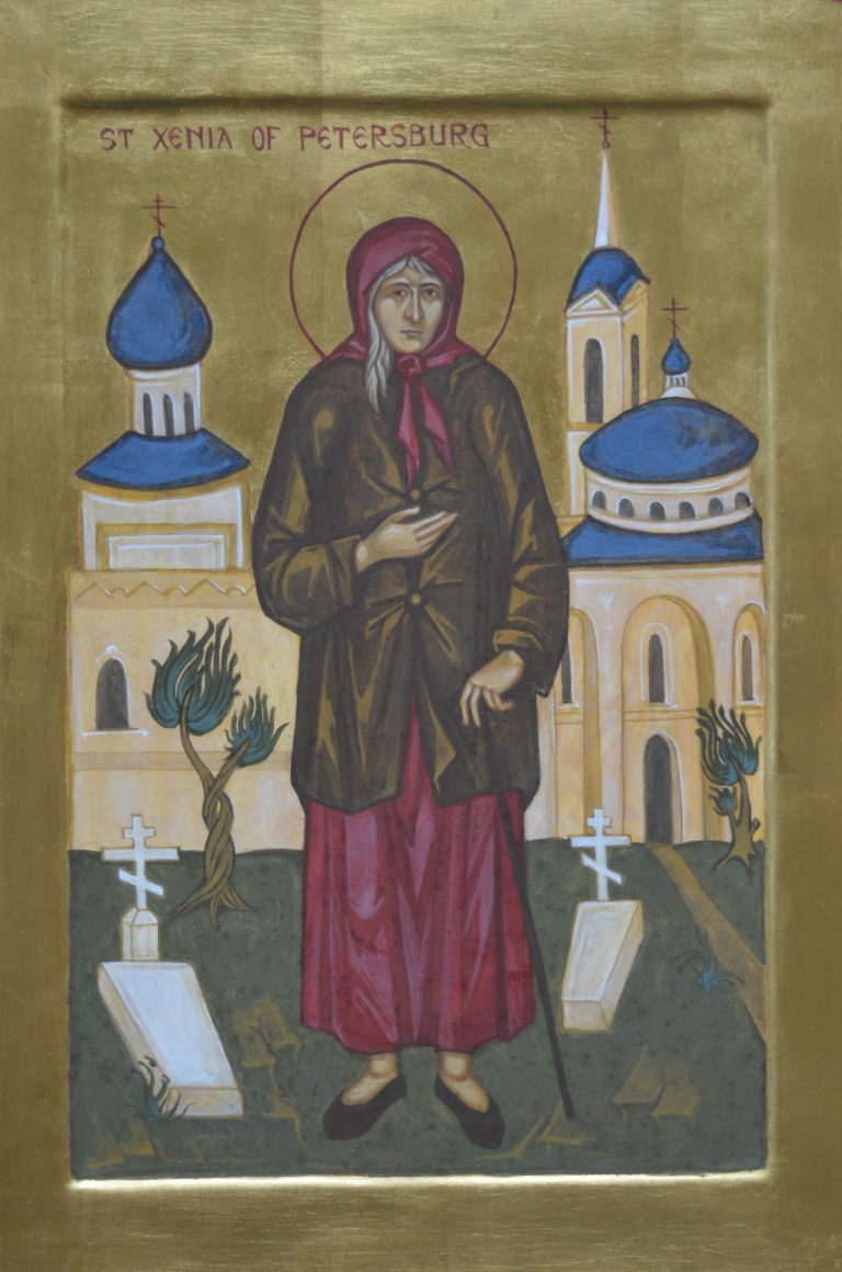 Hand painted icon of Saint Xenia of Petersburg - egg tempera on wood, oil gilded