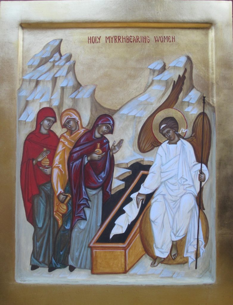 Hand painted icon of The Myrrh-Bearing Women - egg tempera on wood, oil gilded